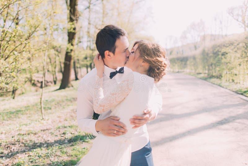 Det romantiska sagagifta paret i vit beklär att kyssa i vår parkerar arkivbilder
