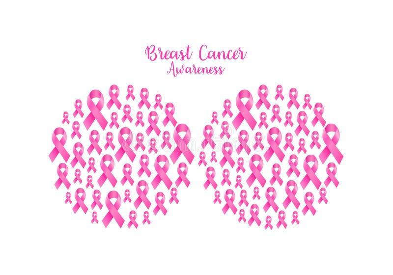 Det rosa bandet fyller in bröstform stock illustrationer