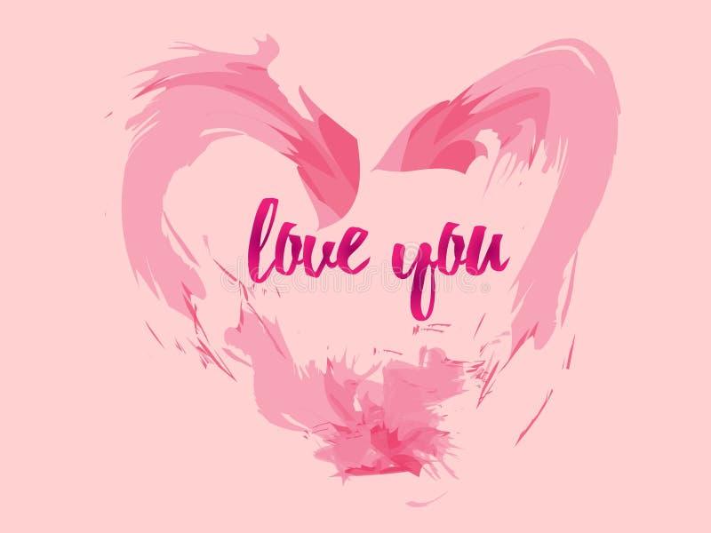 Det rosa förälskelsekortet med bokstaven, som säger mig, älskar dig, gör perfekt för bakgrund eller att ge dagen av valentin vektor illustrationer