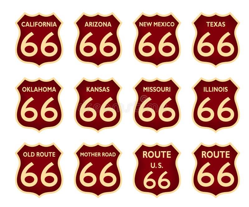 Det Route 66 trafiktecknet historiska USA Amerika isolerade vektorn eps vektor illustrationer