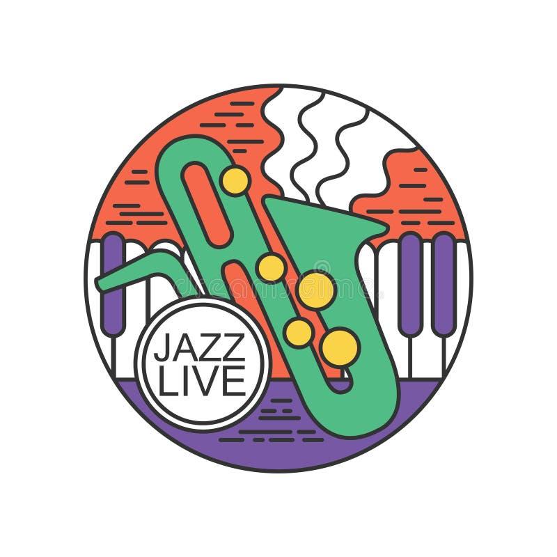 Det runda emblemet för jazz bor konsert Vit maskering och saxofon Logo med saxofon- och pianotangenter Abstrakt linje konst med f royaltyfri illustrationer