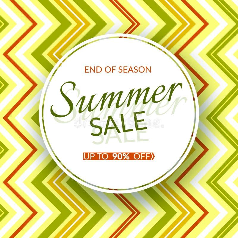 Det runda slutet för banersommarförsäljningen av rabatten för säsong 90% på färger för en sommar för tema för geometrisk bakgrund stock illustrationer