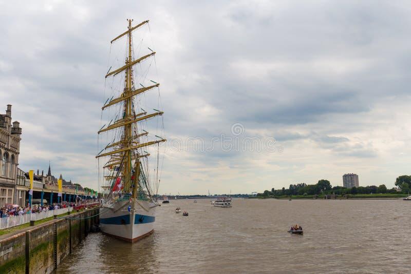Det ryska seglingskeppet Mir Peace som ses i Antwerp under de högväxta skeppen, springer händelsen 2016 arkivfoton