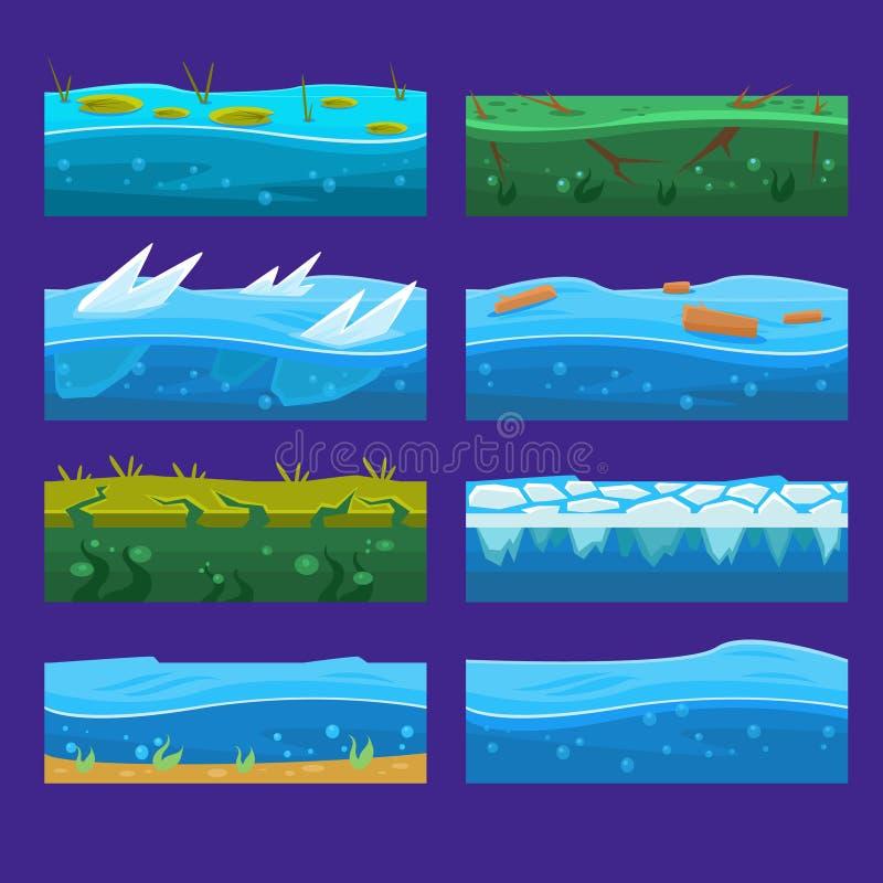 Det sömlösa havet, havet, vatten, bakgrunder för vågvektor ställde in för UI-lek i tecknad film vektor illustrationer