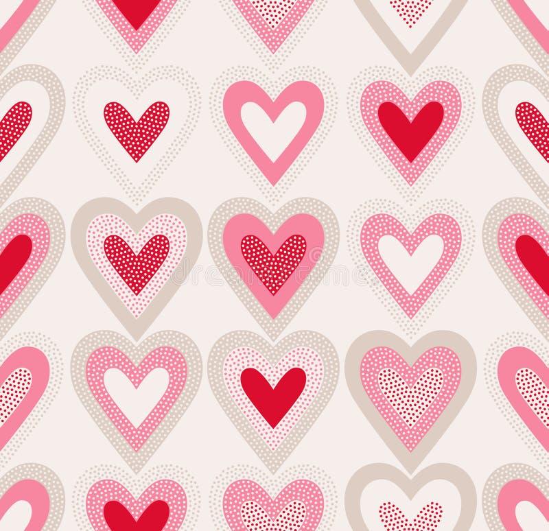 Det sömlösa klottret pricker hjärtamodellen royaltyfri illustrationer