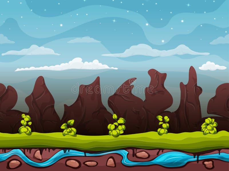 Det sömlösa tecknad filmnaturlandskapet, oupphörlig bakgrund med jordning, buskar på bakgrunden av berg och vaggar med royaltyfri illustrationer