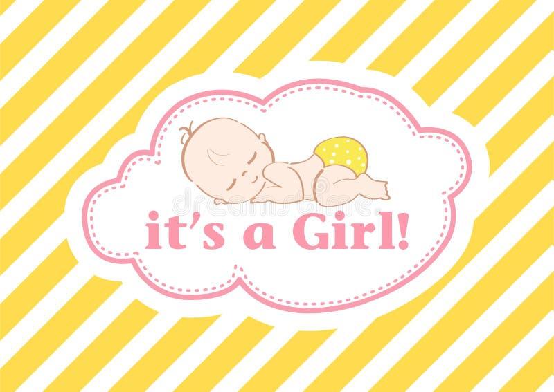 Det ` s en flicka! , härligt kort som firar den nya familjemedlemmen I en pastellfärgad bakgrund! fotografering för bildbyråer