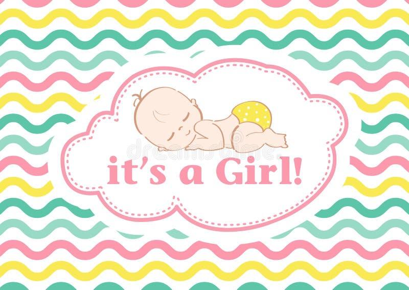 Det ` s en flicka! , härligt kort som firar den nya familjemedlemmen I en pastellfärgad bakgrund! arkivfoton