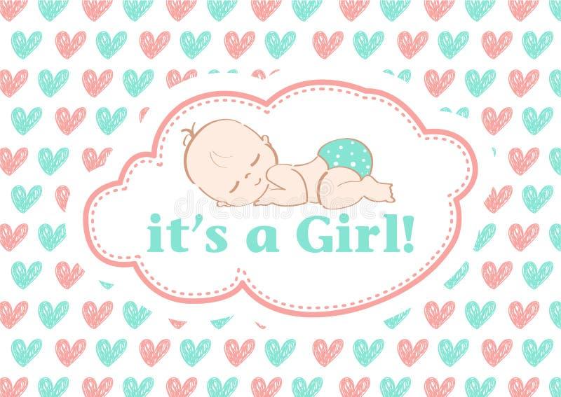 Det ` s en flicka! , härligt kort som firar den nya familjemedlemmen I en pastellfärgad bakgrund! arkivbilder