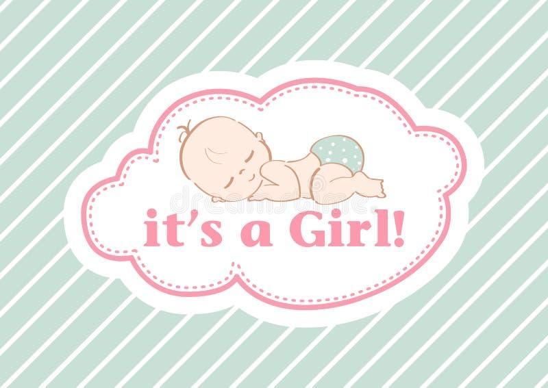 Det ` s en flicka! , härligt kort som firar den nya familjemedlemmen I en pastellfärgad bakgrund! royaltyfri foto