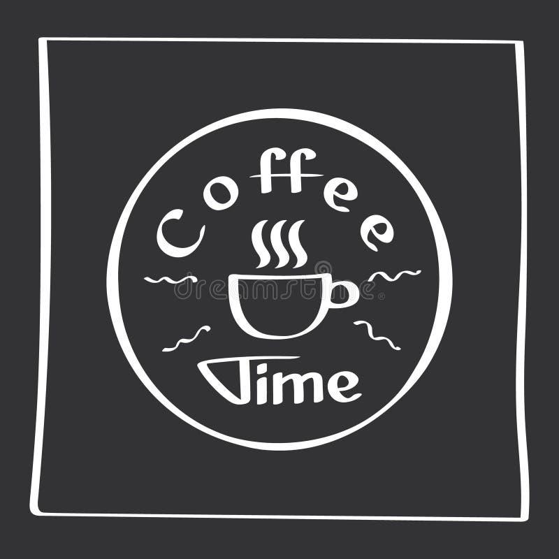 Det s-kaffetid Handteckningsaffisch med uttrycksdekorbeståndsdelar Typografikort, bild med bokstäver bakgrundsdesignelement fyra  stock illustrationer
