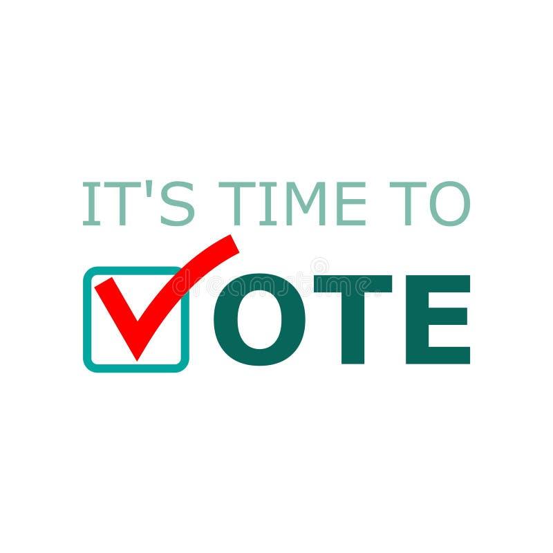 Det s Tid som röstar tecknet, Tid att rösta ord vektor illustrationer