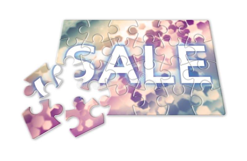 Det Sale begreppet med kulör sexhörnig bakgrund planlägger i pussel royaltyfri fotografi