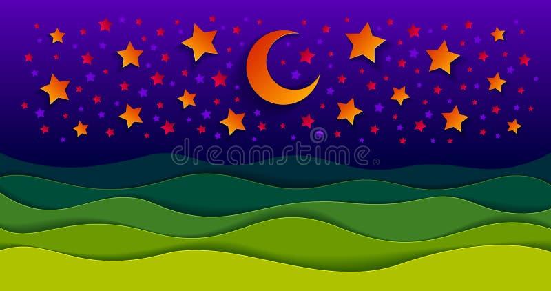 Det sceniska naturlandskapet av ängen för grönt gräs i natten under den skinande månen och stjärnor i midnatt himmeltecknad filmp vektor illustrationer