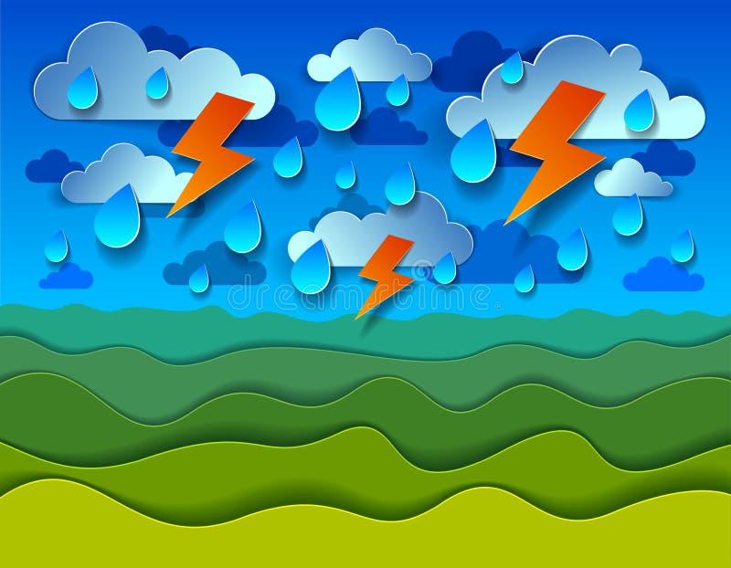 Det sceniska naturlandskapet av ängen för grönt gräs under åskväder och för himmeltecknad film för blixt molnigt regnigt papper k stock illustrationer