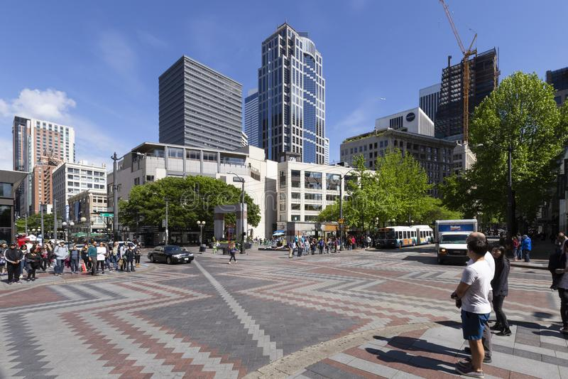 Det Seattle centret Westlake parkerar fotografering för bildbyråer