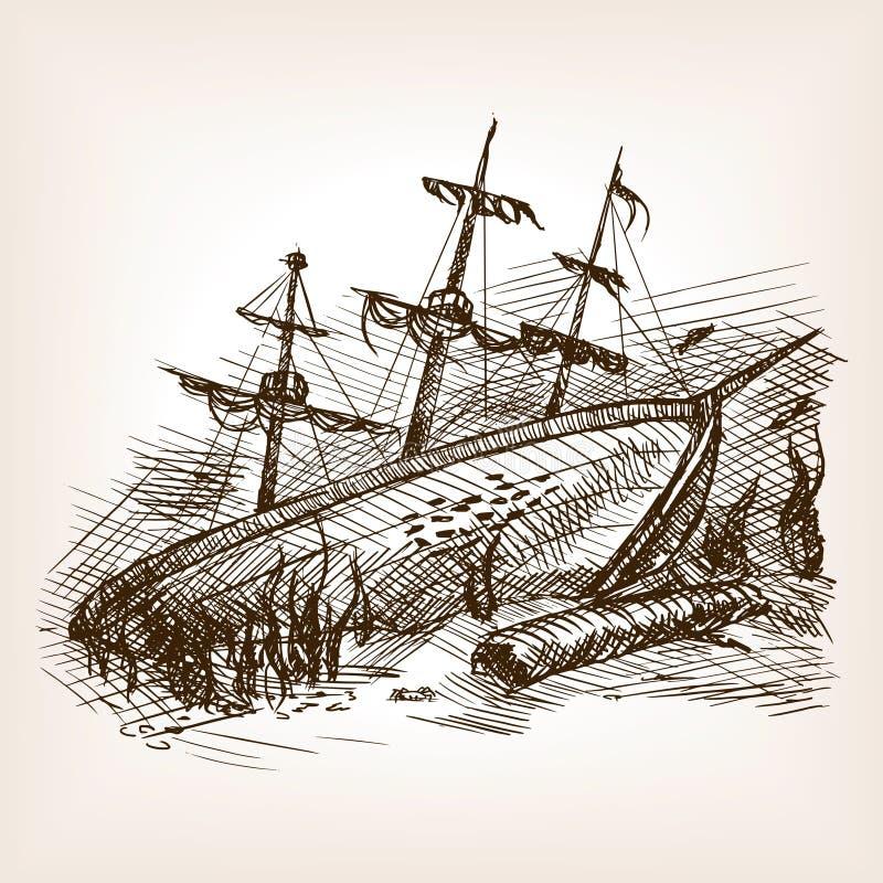 Det skeppsbrutna forntida seglingskeppet skissar vektorn stock illustrationer