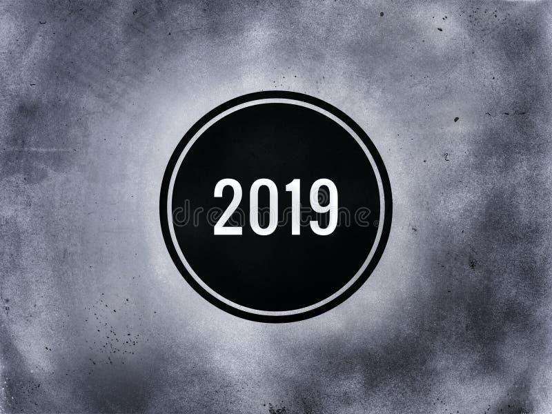 Det skriftliga året 2019 på den mörka gråa bakgrunden stock illustrationer
