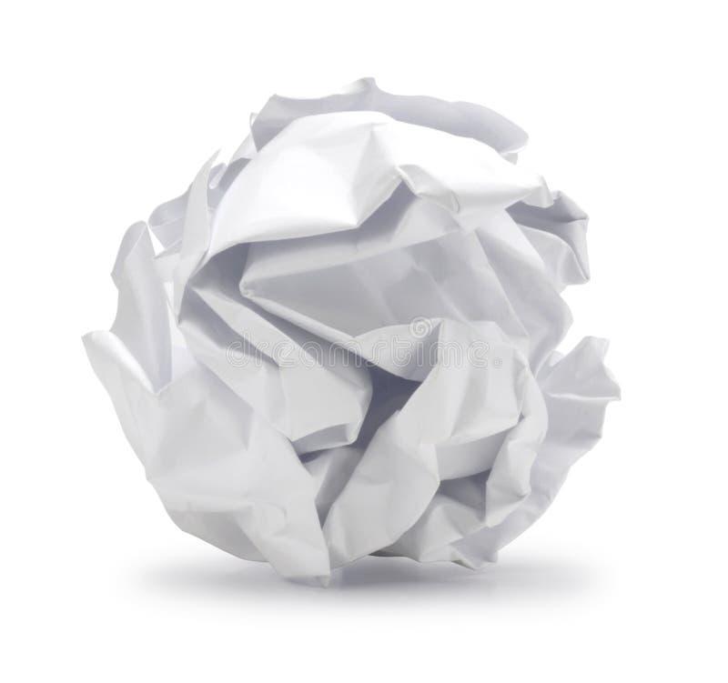 Det skrynkliga arket av papper i bollform kan vara återanvänder. arkivbilder