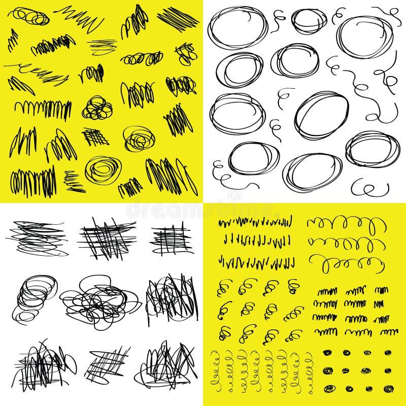 Det slumpmässiga utdragna klottret för den svarta handen och klottrar designbeståndsdeluppsättningen på vitt och gult stock illustrationer