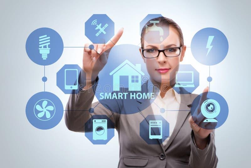Det smarta hem- begreppet med kvinnan arkivfoto