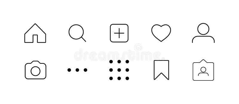 Det sociala massmedia har kontakt ställde in knappar, symboler: hem- hjärta för kamera för foto för kamerakommentarsökande som an vektor illustrationer