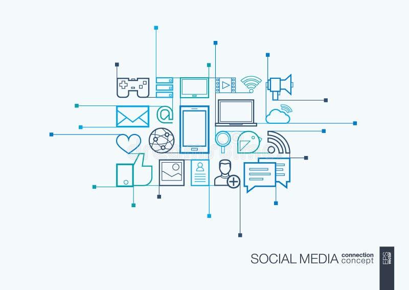 Det sociala massmedia integrerade den tunna linjen symboler stock illustrationer