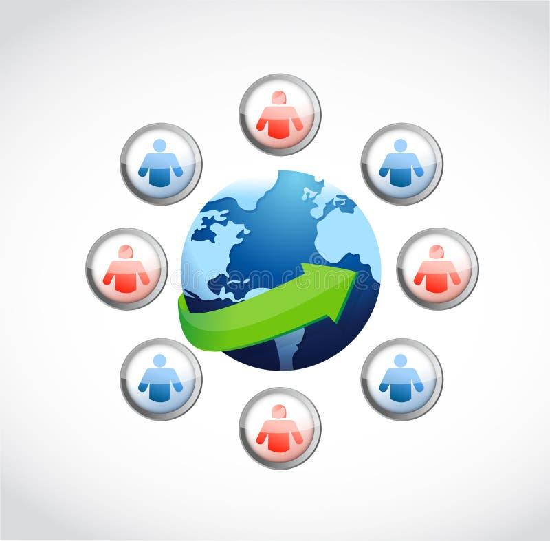 Det sociala massmedia knyter kontakt runtom i världen. stock illustrationer