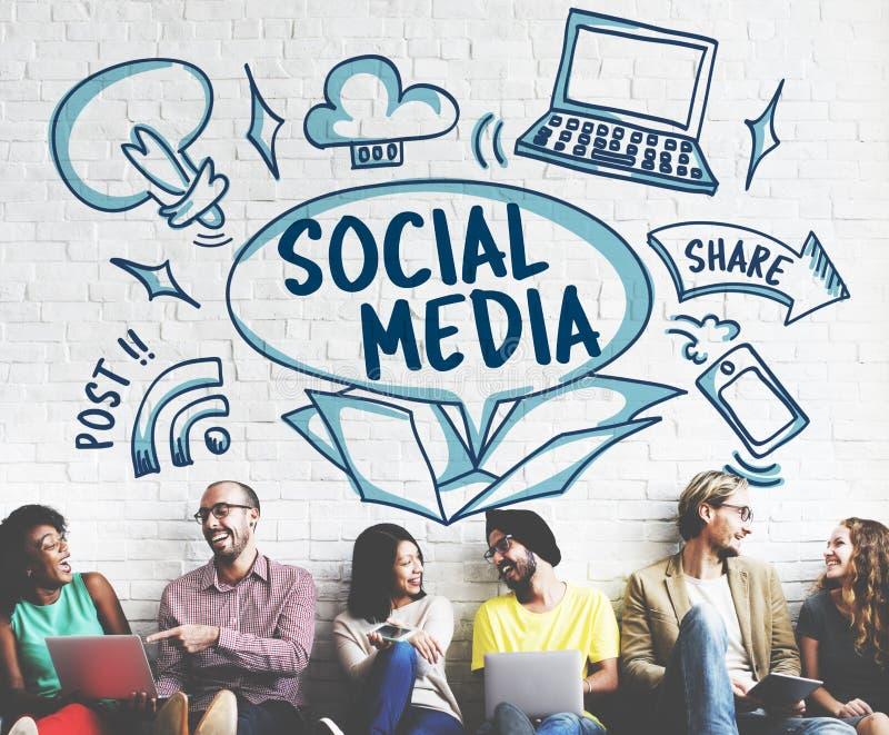 Det sociala massmedia postar direktanslutet aktiesymbolsbegrepp fotografering för bildbyråer