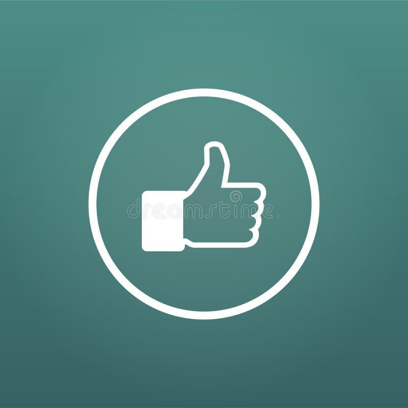 det sociala massmedia räcker tummen upp symbolslägenhet i cirkel Vektorillustration som isoleras på modern bakgrund vektor illustrationer