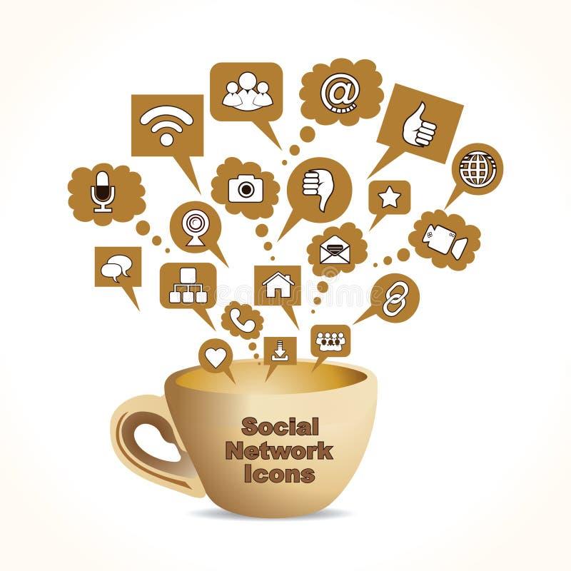 det sociala massmedia som begreppet med kaffe rånar, lagerför   stock illustrationer