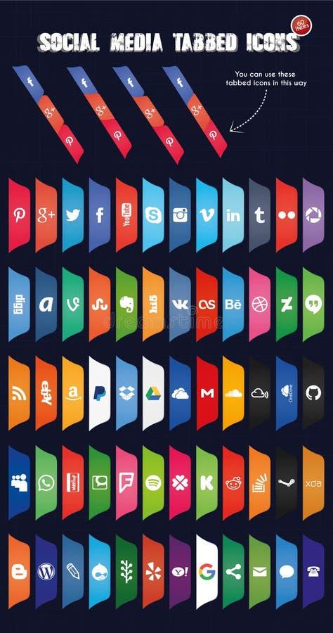 Det sociala massmedia tabbed symboler (uppsättning 3) royaltyfri illustrationer