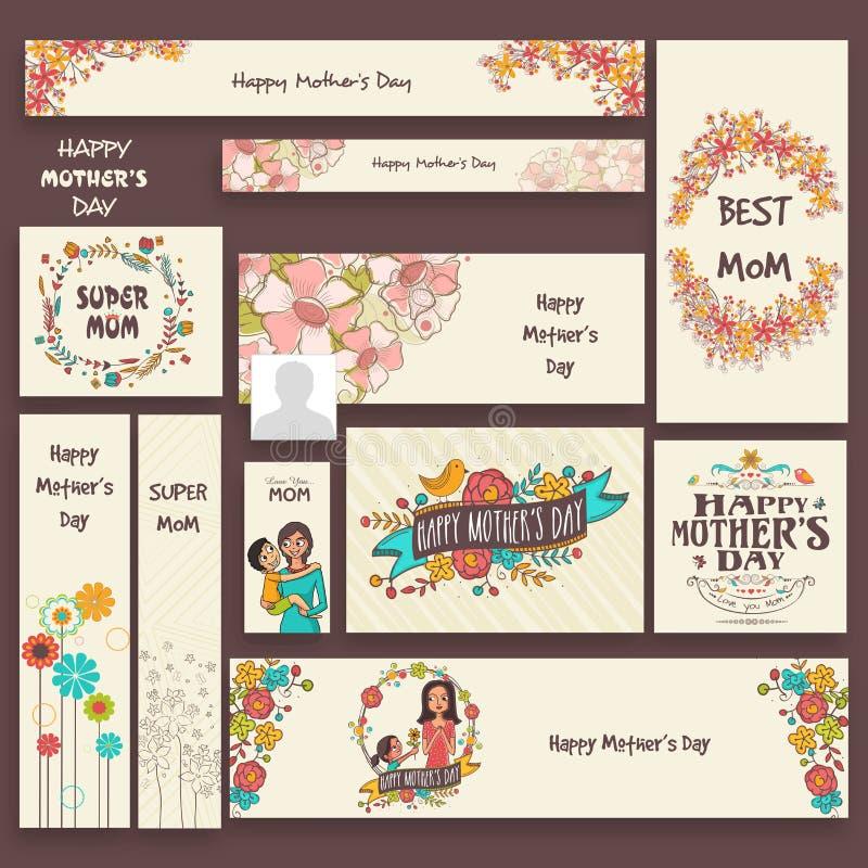 Det sociala massmedia tillfogar eller banret för mors dag stock illustrationer