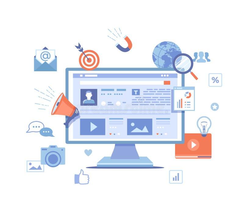 Det sociala massmedia tillfredsst?ller strategi, ledning, service, utveckling som marknadsf?r framg?ng, socialt dela, reng?ringsd royaltyfri illustrationer