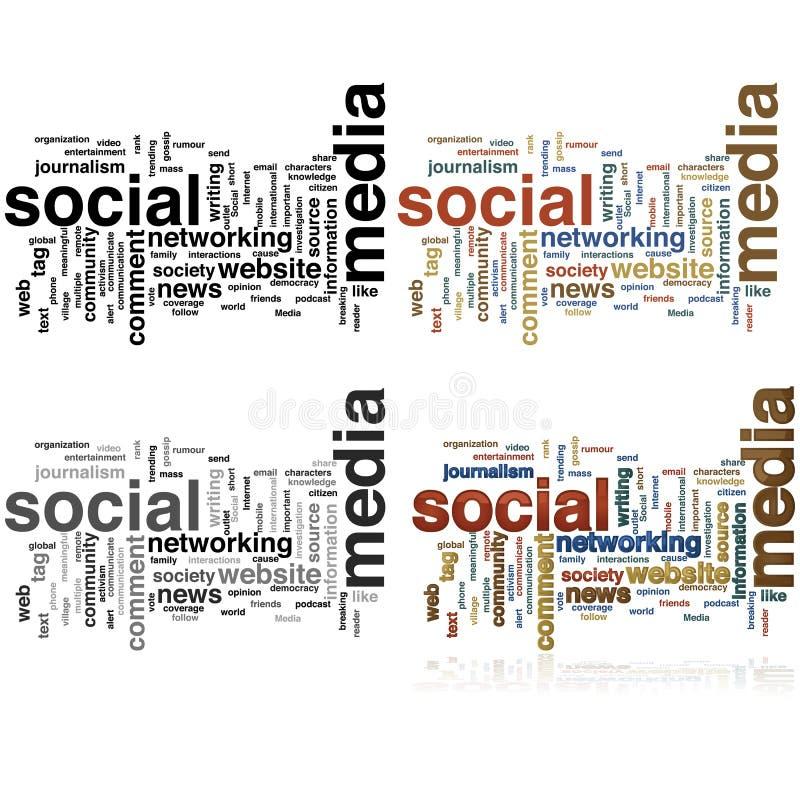 Det sociala massmedia uttrycker molnet stock illustrationer