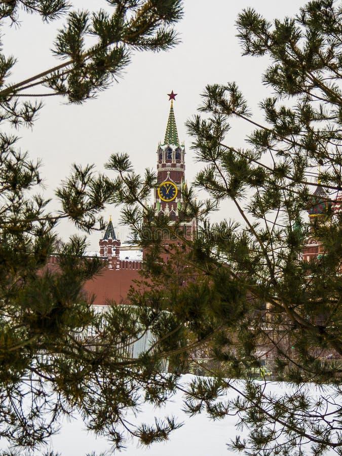 Det Spasskaya tornet av Kreml på röd fyrkant i Moskvabakgrund sörjer träd Ryssland royaltyfri foto