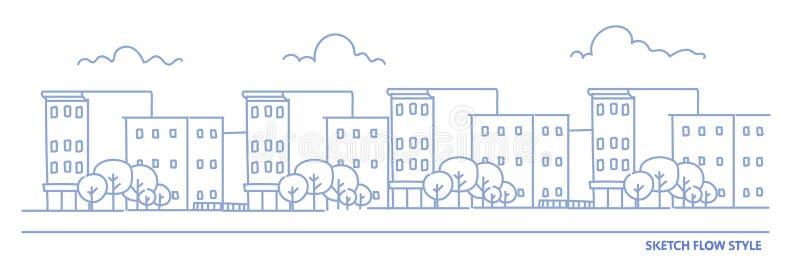 Det stads- landskapet med byggnadsskyskrapor nära vägen tömmer inga personer, bakgrund för gatahorisont somcityscape skissar flöd royaltyfri illustrationer