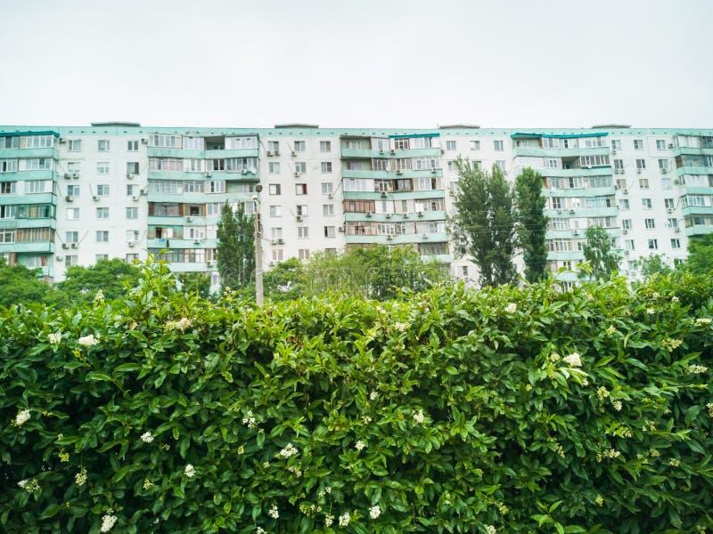 Det stads- landskapet med sikter av mång--våningen färgade hus royaltyfri fotografi