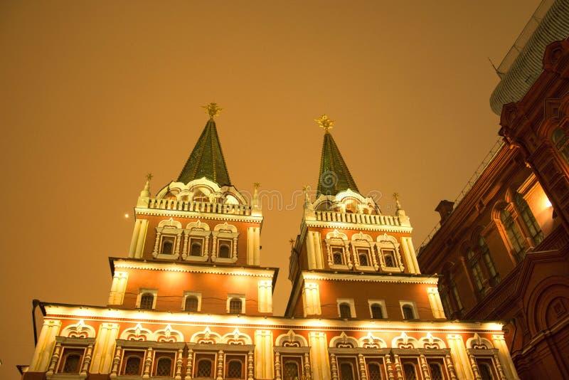 Det statliga historiska museet av Ryssland Lokaliserat mellan den röda fyrkanten och den Manege fyrkanten i Moskva arkivbilder