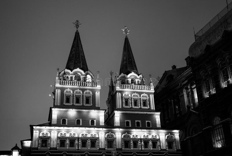 Det statliga historiska museet av Ryssland Lokaliserat mellan den röda fyrkanten och den Manege fyrkanten i Moskva royaltyfri fotografi