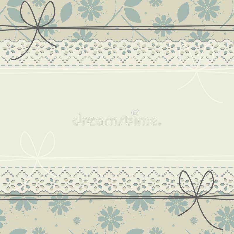 Det stilfulla hälsningkortet med vårblommor och snör åt ramen royaltyfri illustrationer