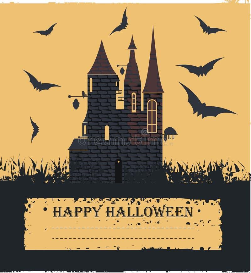 Det stilfulla halloween kortet med häxaslotten som flyger slår till vektor illustrationer