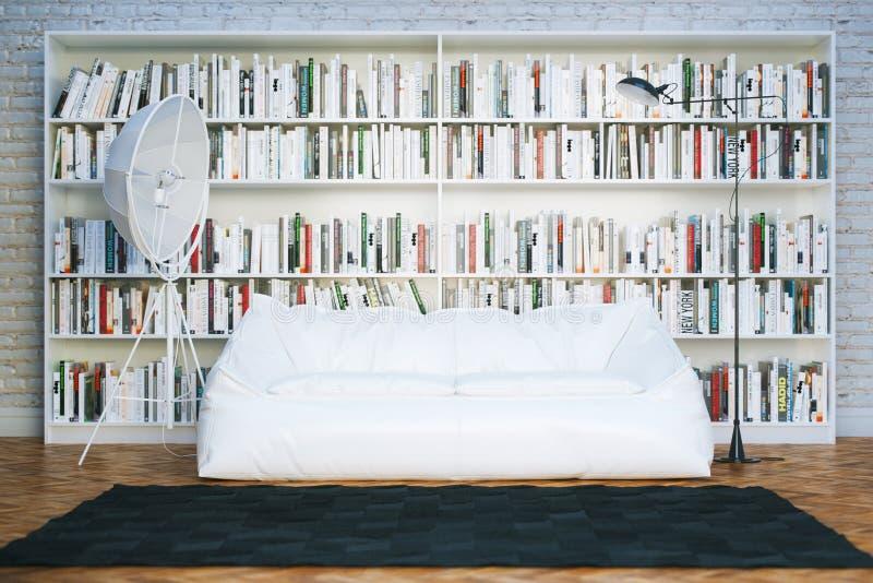 Det stora arkivet bordlägger med många bokar i vit vardagsrum fotografering för bildbyråer