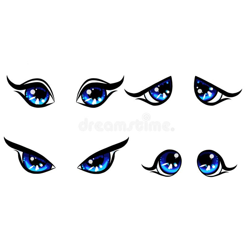 Det stora blåa flickateckenet synar, sinnesrörelse på lycklig och ilsken undrubbningen för framsidan, ledsna kvinnaögon, faststäl royaltyfri illustrationer