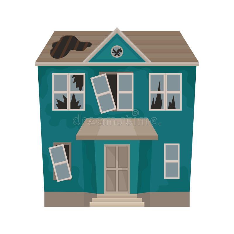 Det stora huset med brutna fönster förser med rutor och hålet i tak övergiven byggnad Gammal två-våning stuga Plan vektorsymbol royaltyfri illustrationer