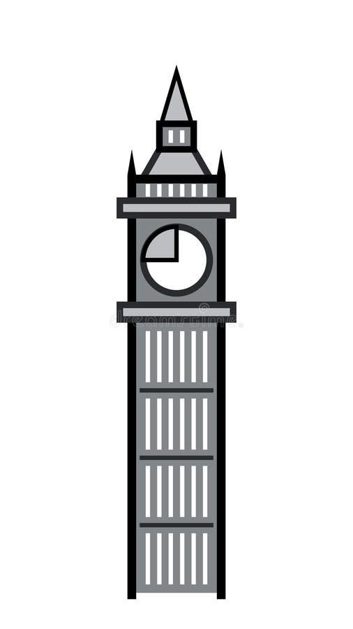 Det stora klockatornet och dess klocka royaltyfri illustrationer
