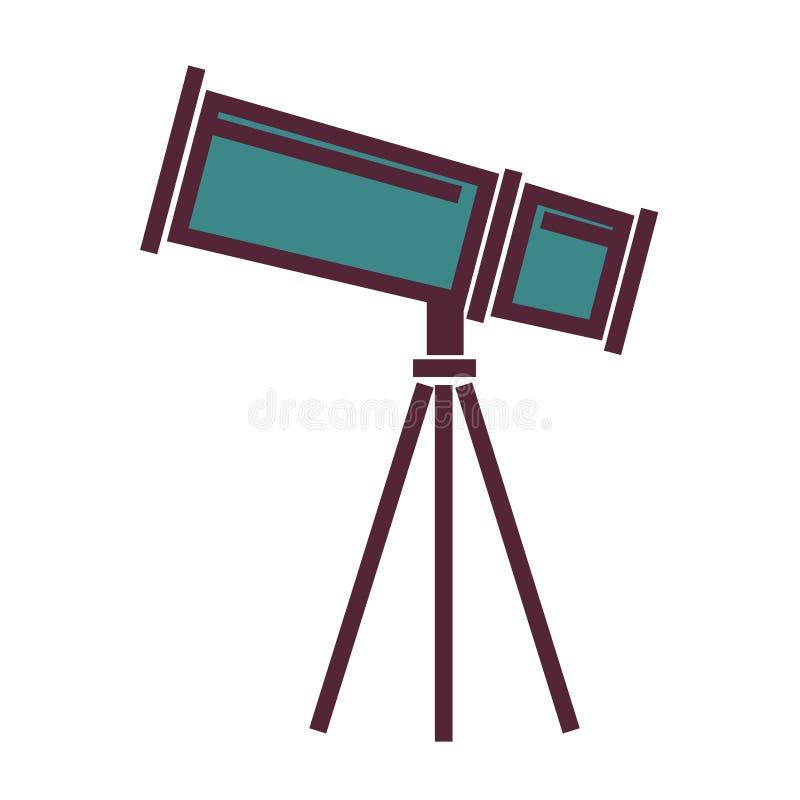 Det stora kraftiga teleskopet på tripoden isolerade tecknad filmillustrationen vektor illustrationer