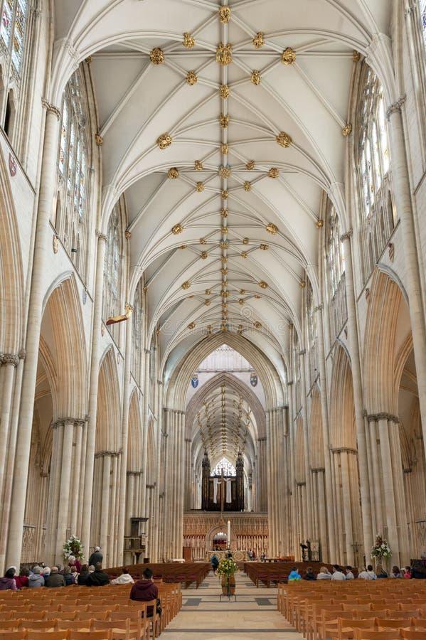 Det storartade gotiska skeppet inom den York domkyrkan, den historiska domkyrkan byggde på engelska gotisk arkitektonisk stil, UK arkivfoton
