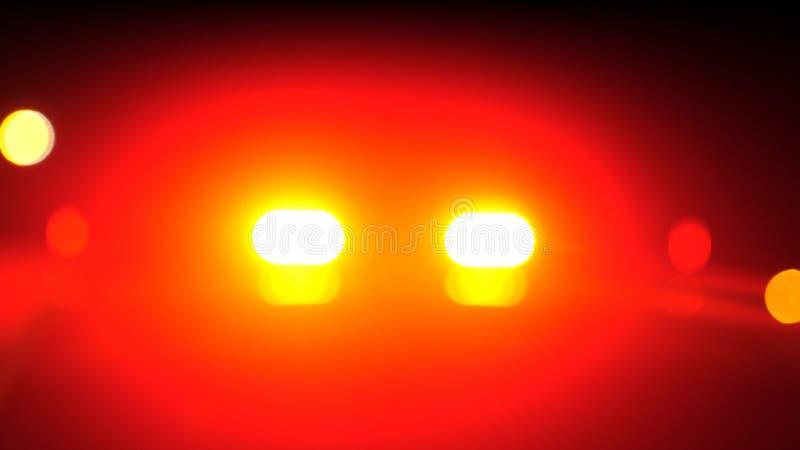 Det suddiga nöd- medlet för polisbilen tänder i nattgata royaltyfri fotografi