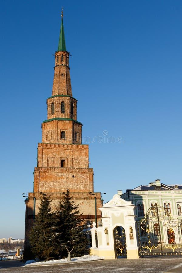Det Suyumbike tornet på den Kazan Kreml Kazan Tatarstan, Ryssland arkivbilder
